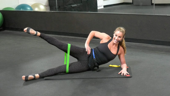 mat pilates workout with thera-bands