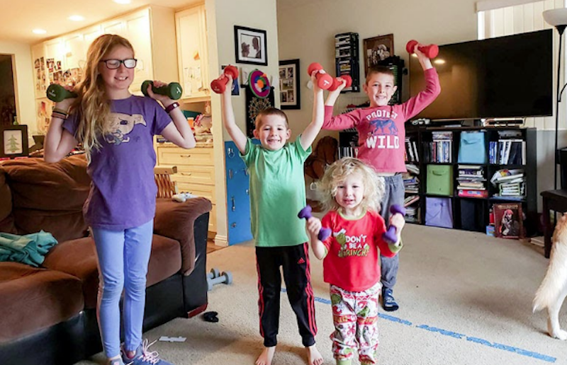 workout with kids at home